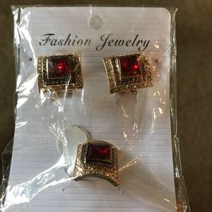 Fashion earrings and ring set . Ring size 6. New
